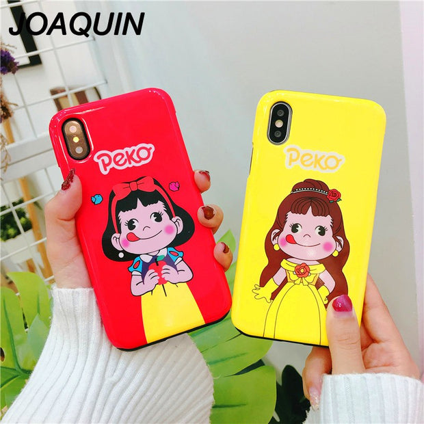 Luxury Grind Arenaceous Two-in-one Hard Case For Apple IPhone 6 6S 7 8 Plus X Cover Cute Girl Patterned Cartoon Coque New Style