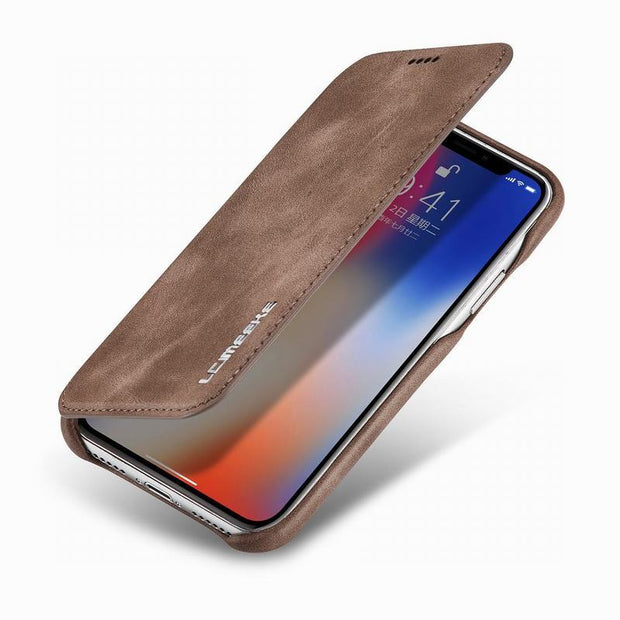Luxury Leather Case For IPhone X Flip Cover Apple IPhone 10 X Cases Good Quality Magnetic Business Phone Case Cover For IPhone X