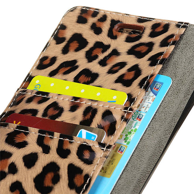 Luxury Leopard Pattern PU Leather Case For Galaxy J7 DUO Magnetic Snap Wallet Flip Stand Card Slots Cover For Samsung J7 DUO