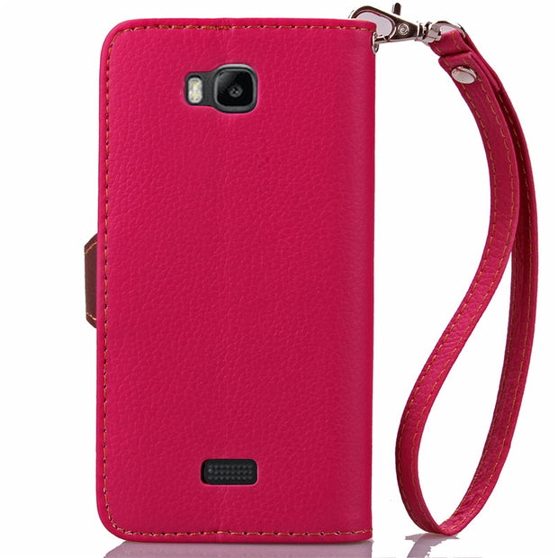 "Luxury Litchi Leaves Wallet Leather Flip Coque Case Cover For Huawei Y5C Y541-u02 Y541 Honor Bee 4.5"" Fundas Back Case Cover"