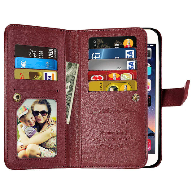 Luxury PU Leather Magnetic Durable 9 Cards Slots Flip Wallet Case For Motorola Moto X X3 X4 M Z C E3 E4 G4 G5 Play Plus Style