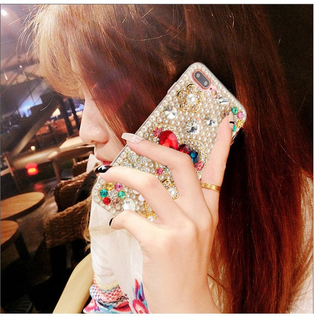 Luxury Pearl Rhinestone Love Heart Crystal Bling Flower Case Cover For Samsung S6 S7 S8 S9 S7edge S9Plus Note5 Note8 Note9 Shell