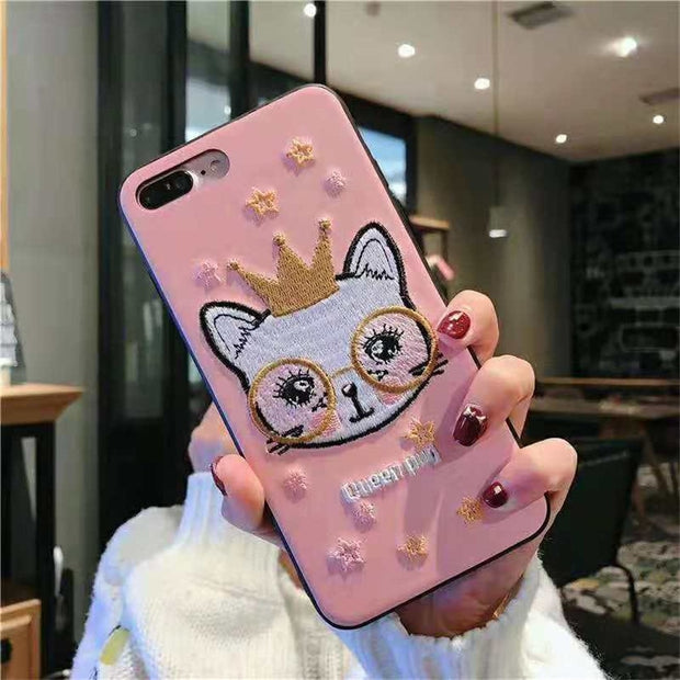 Luxury Phone Back Cover For OPPO R11s R9R9s Plus Capa Coque Pink Embroidery Star Glasses Queen Pug Crown Cat Pattern PC+TPU Case