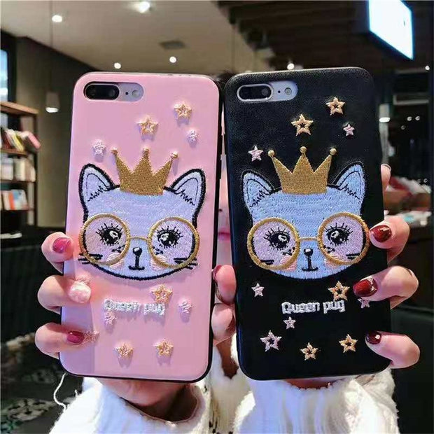 Luxury Phone Back Covers For IPhone XR XS MAX 7 8 6s Plus Pink Embroidery Star Glasses Queen Pug Crown Cats Pattern PC+TPU Cases