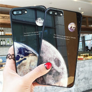 Luxury Phone Cases For Apple Iphone 7 Plus 8 Plus X 6s 6 Plus Moon And Earth Design Tempered Glass Case Shells Fundas Coque
