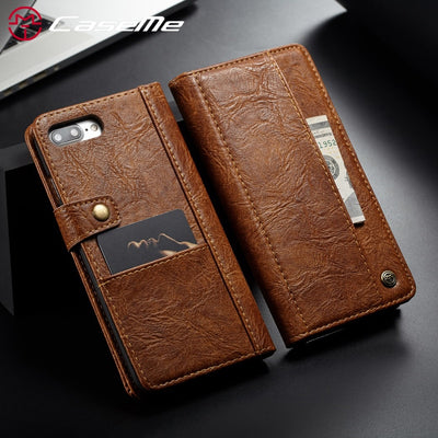 Luxury Retro Leather Wallet Card Flip Cover For IPhone 7 8 Plus For IPhone X CaseMe Phone Case For IPhone 6 Case IPhone 8