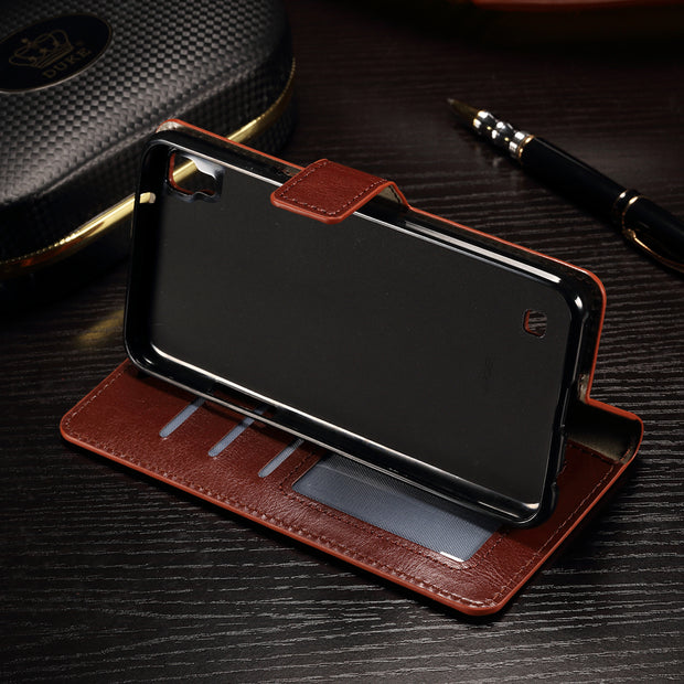 Luxury Retro Leather Wallet Coque Case For LG X Power K220DS