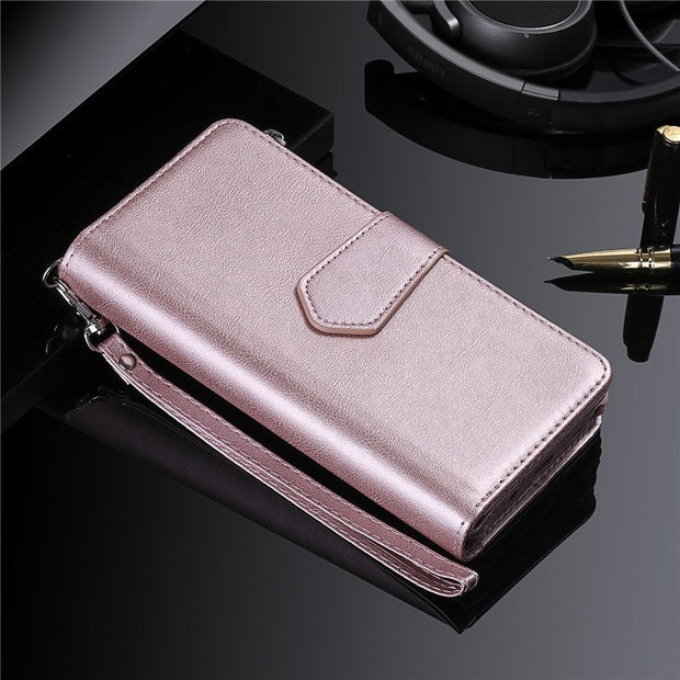 d9d9ebe70a3f Luxury Retro Vintage Leather Wallet Case For IPhone XR Card Slot ...