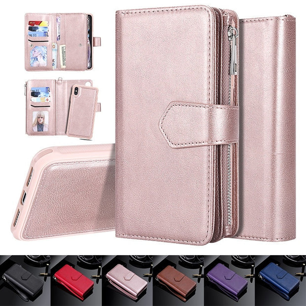 brand new 865f0 92a93 Luxury Retro Vintage Leather Wallet Case For IPhone XS Max Card Holder  Detachable 2 In 1 Magnetic Phone Cover For IPhone XS Max