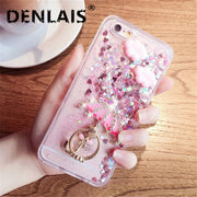 Luxury Rhinestone Cartoon Glitter Dynamic Quicksand Liquid Silicone Phone Case For Samsung Galaxy S6 S7 Edge S8 S8Plus S9 S9Plus