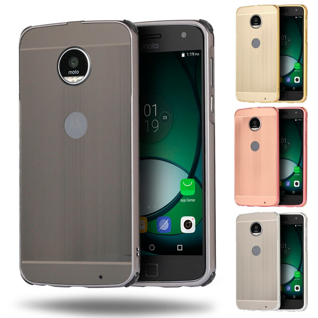 huge discount 3e9e3 9f8e9 Luxury Shockproof Aluminum Bumper For Motorola Moto Z2 Force Case Brushed  Metal Hard PC Back Cover For Moto Z2 Force Case 5.5''