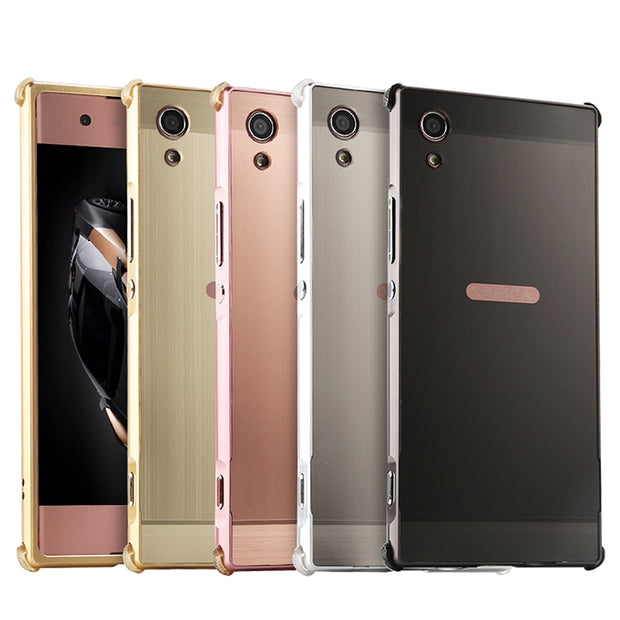 new concept e6cfb 338bb Luxury Shockproof Aluminum Bumper For Sony Xperia XA1 Case Brushed Metal  Hard PC Back Cover For Sony Xperia XA1 G3116 Case