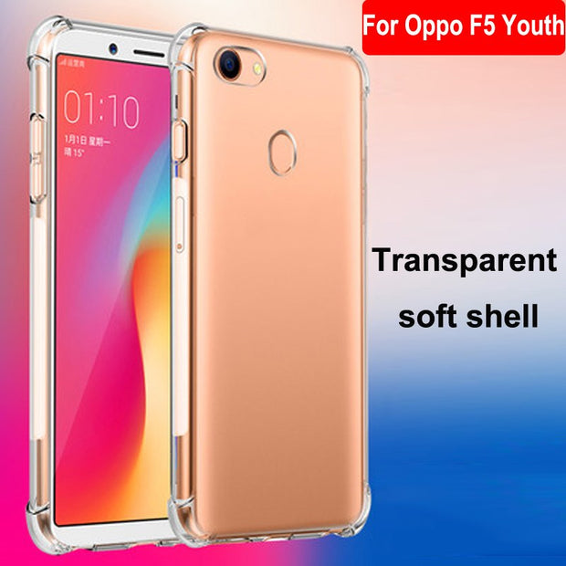 low priced 6dcd9 a0566 Luxury Shockproof Clear Soft Case Capa For Oppo F5 Youth Phone Case  Silicone Back Cover For Oppo F 5 Youth F5Youth Phone Shell