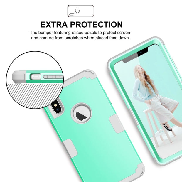 Luxury Shockproof Phone Case For IPhone XS XR XS Max X 8 7 6 6S Plus PC+TPU 3-Layers Hybrid Full-Body Protect Cover Anti-Knock