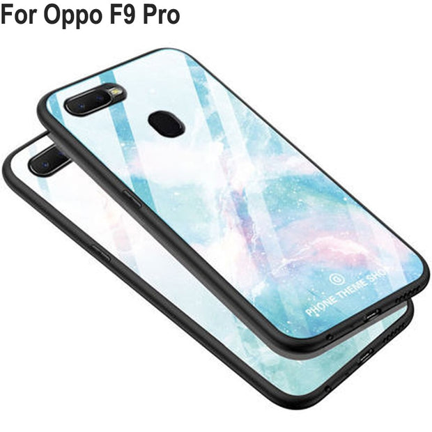 reputable site 63490 ece0d Luxury Tempered Glass Case For Oppo F9 Pro Case Soft Silicone Frame Hard  Back Cover 6.3'' For Oppo F9Pro F 9 Pro Cases Shell