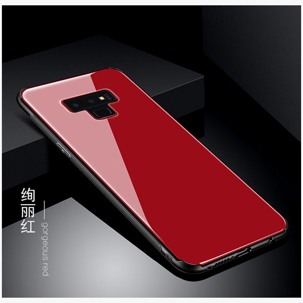 buy popular 9d409 d5bee Luxury Tempered Glass Cases For Samsung Galaxy Note9 Luxury Cool Cat  Anti-Scratch Full Case For Samsung Galaxy Note 9 Back Case