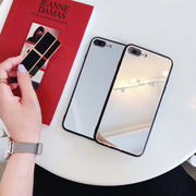 Luxury Tempered Glass Mirror Phone Case For IPhone X 8 7 6s Plus Make Up Mirror Back Cover For Samsung Note8 S9 S8 Plus