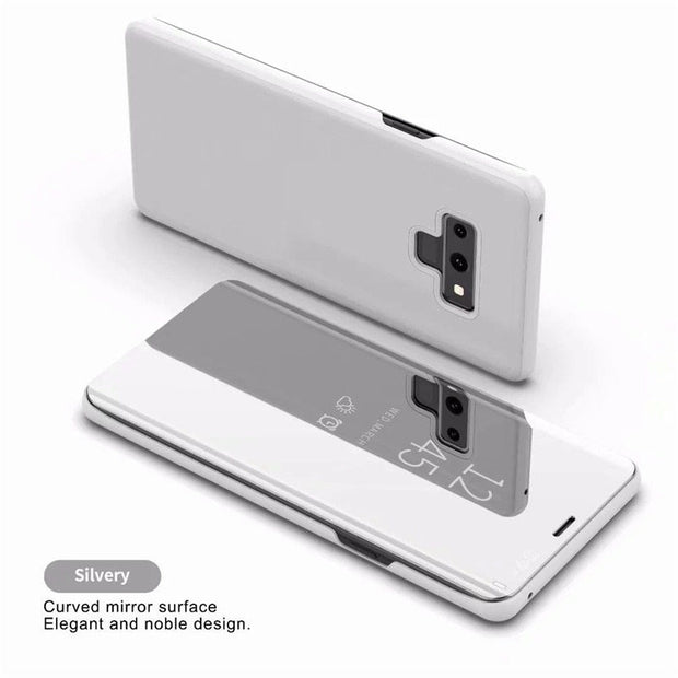 Luxury Touch Mirror Smart Flip Stand Leather Cover For Samsung Galaxy Note 9 S-View Clear Stand Wallet Case Kickstand Anti-kncok