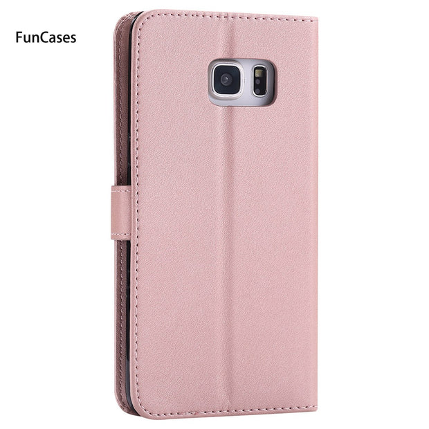 Luxury Wallet Phone Case SFor Hoesjes Samsung S7 Edge Holsters Clips Case Back Metallic Pouch Case For Samsung Galaxy G935 Bulk