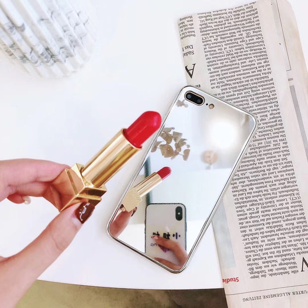 Luxury Women Mirror Phone Case For IPhone X 8 7 6s Plus Girls Make Up Mirror Back Cover Plating Phone Case