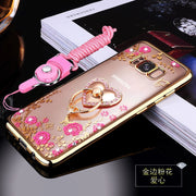 Luxury Brand Case For Samsung Galaxy S8 S8plus Cover With Kickastand And Lanyard Colorful Crystal Rhinestone Dazzling
