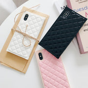 Luxury Elegant PU Classic Lambskin For IPhone 8 7 6 6s Plus X XR Xs Max Fashion Square Lattice Vintage Phone Case Back Cover