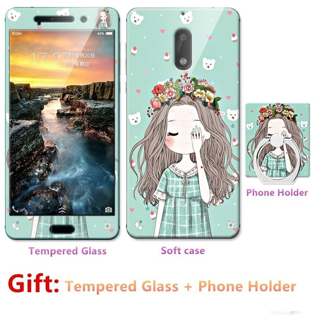 Luxury For Nokia 6 2017 Bumper Silicone Case=Tempered Glass Film+ Cute Cartoon Plastic Soft Case Cover+phone Holder
