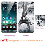 Luxury For Nokia 6 2018 2nd Bumper Silicone Case=Tempered Glass Film+ Cute Cartoon Plastic Soft Case Cover+phone Holder