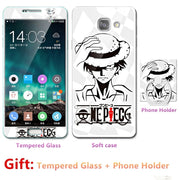 Luxury For Samsung A7 2016/7100/7108 Bumper Silicone Case=Tempered Glass Film+ Cute Cartoon Plastic Soft Case Cover+phone Holder