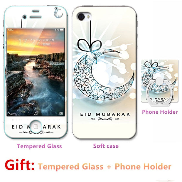 Luxury For Iphone 5 5S SE Silicone Case=Tempered Glass Film+ Cute Cartoon Plastic Soft Case Cover+phone Holder