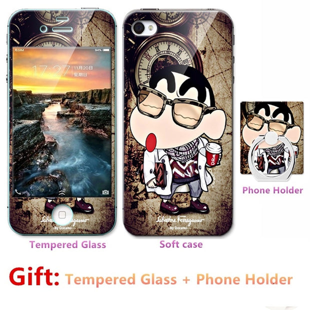 Luxury For Iphone 6 6s Silicone Case=Tempered Glass Film+ Cute Cartoon Plastic Soft Case Cover+phone Holder