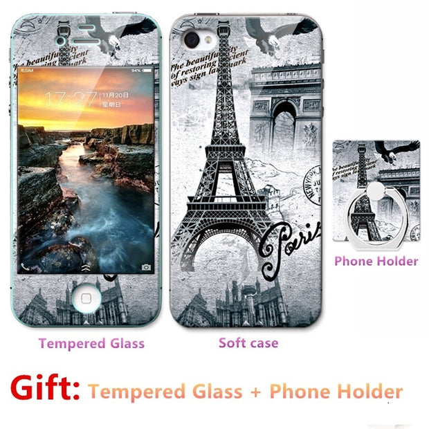 Luxury For Iphone 7 8 Silicone Case=Tempered Glass Film+ Cute Cartoon Plastic Soft Case Cover+phone Holder