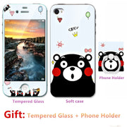 Luxury For Iphone 7plus 8plus Silicone Case=Tempered Glass Film+ Cute Cartoon Plastic Soft Case Cover+phone Holder