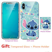 Luxury For Iphone X 10 Silicone Case=Tempered Glass Film+ Cute Cartoon Plastic Soft Case Cover+phone Holder