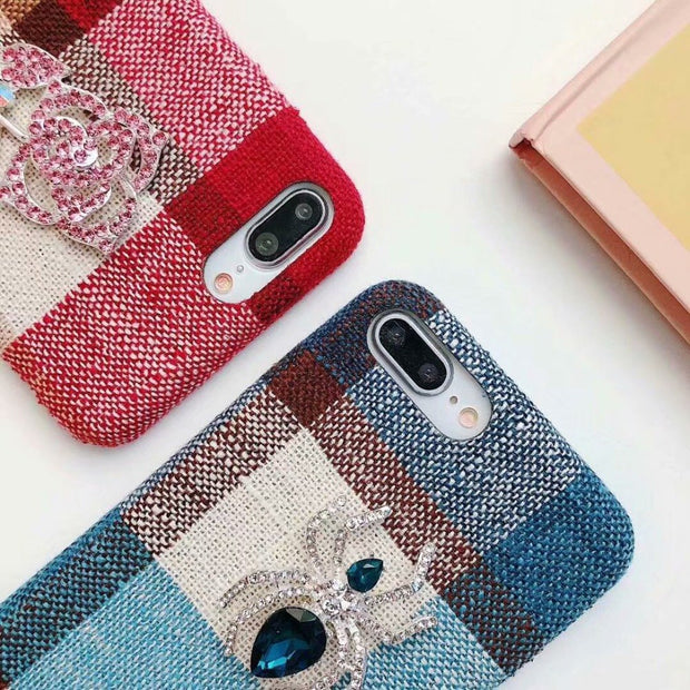 Luxury Mobile Phone Shell Checked Flannelette Hand Rope For Iphone XR XS XSMAX X 8 8PLUS 7 7PLUS 6 6PLUS Deluxe Box Cover