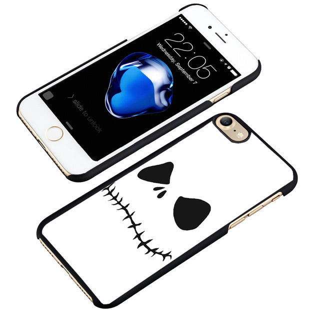 LvheCn Phone Case Cover Fit For IPhone 4 4s 5 5s 5c SE 6 6s 7 8 Plus X Ipod Touch 4 5 6 Jack Skellington Face