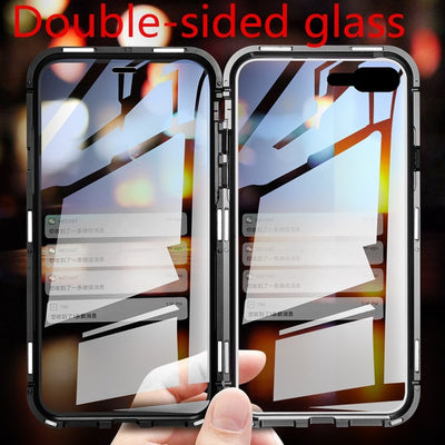 Magnet Adsorption For IPhone 7 8 Plus Double-sided Glass Clear Magnetic Case 360 Full Cover For IPhone 8 7 Plus Bumper Coque
