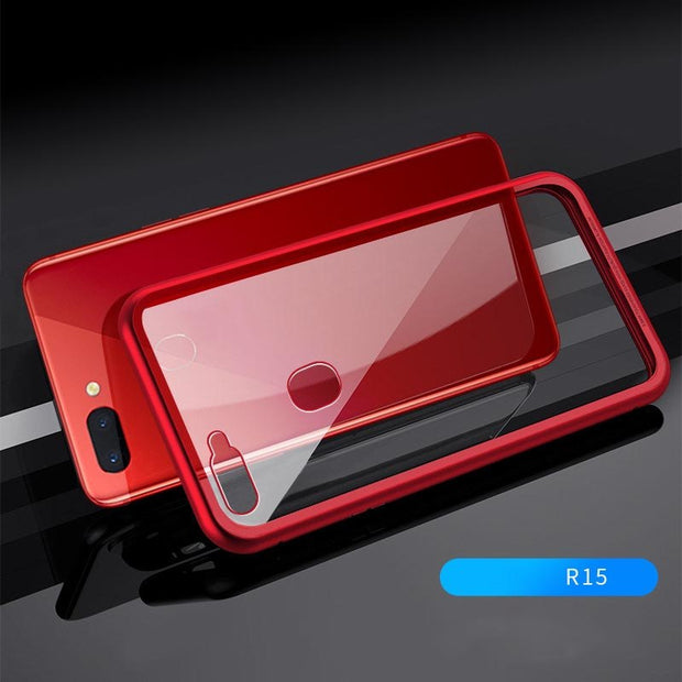 Magnet Phone Case For VIVO Clear Tempered Glass Magnetic Adsorption Metal Cover Back Tempered Glass DJA99