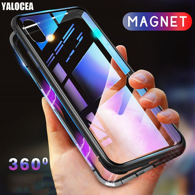 best service 242fa 935f0 Magnetic Adsorption Case For Xiaomi Redmi Note 5 Pro Metal Frame Tempered  Glass Back Cover For Xiaomi Redmi Note 5 Magnet Case
