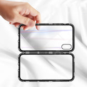 Magnetic Adsorption Case For IPhone X XS XR XS MAX 10 8 7 6 6S Plus Luxury Metal Bumper+Tempered Glass Back Cover Flip Case