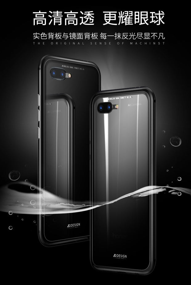 Magnetic Adsorption Case For Huawei Honor 10 Clear Tempered Glass + Built-in Magnet Case For Huawei Honor 10 Metal Ultra Cover