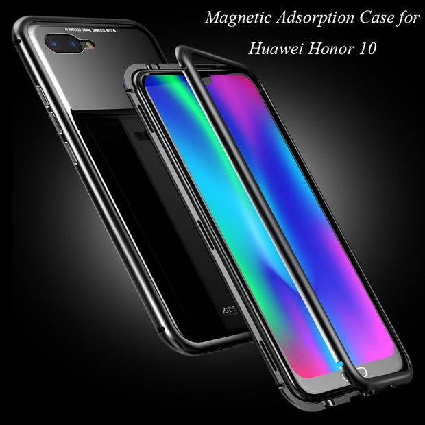 new styles 741ba 5f90b Magnetic Adsorption Case For Huawei Honor 10 Clear Tempered Glass +  Built-in Magnet Case For Huawei Honor 10 Metal Ultra Cover
