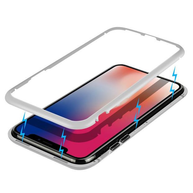 1e2ebcb24f Magnetic Adsorption Case For IPhone X XS MAX Clear Tempered Glass + Built-in  Magnet