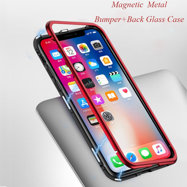 new products 86951 e336b Magnetic Adsorption Case For Oneplus 6 1+6 Clear Tempered Glass + Built-in  Magnet Case For One Plus 6 Metal Ultra Cover Oneplus6