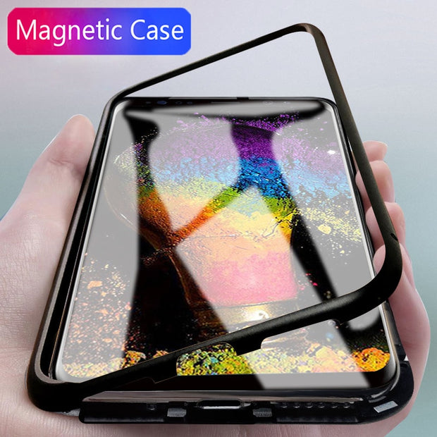 promo code 55ea5 a50fd Magnetic Adsorption Case For Samsung Galaxy S8 S9 Plus Magnet Case Metal  Bumper Back Cover For Samsung Note 8 S 9 Tempered Glass