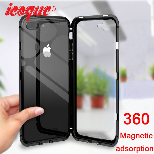 quality design 0055c 4b7a9 Magnetic Adsorption Metal Case For IPhone X 6 Plus Case 360 Iphonex Clear  Back Glass Luxury Cover For IPhone X 8 6S 7 Plus Case