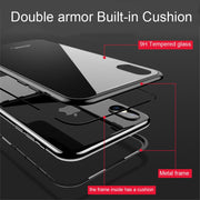 Magnetic Adsorption Phone Case For IPhone 7 8 Plus Metal Magnet Tempered Glass Case For IPhone X 6 6S Plus Case Flip Cover Coque