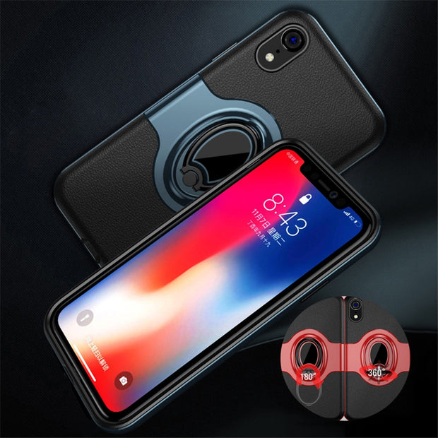 Magnetic Finger Ring Stand Holder Phone Case On The For IPhone X XR XS Max Back Cover For IPhone XR Xs Max Protective Shell