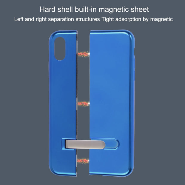 Magnetic Patchwork Phone Case With Frame For IPhone 6 6S 7 8 Plus X XS XR XS Max Splicing Bracket Protection Shell Cover Stand