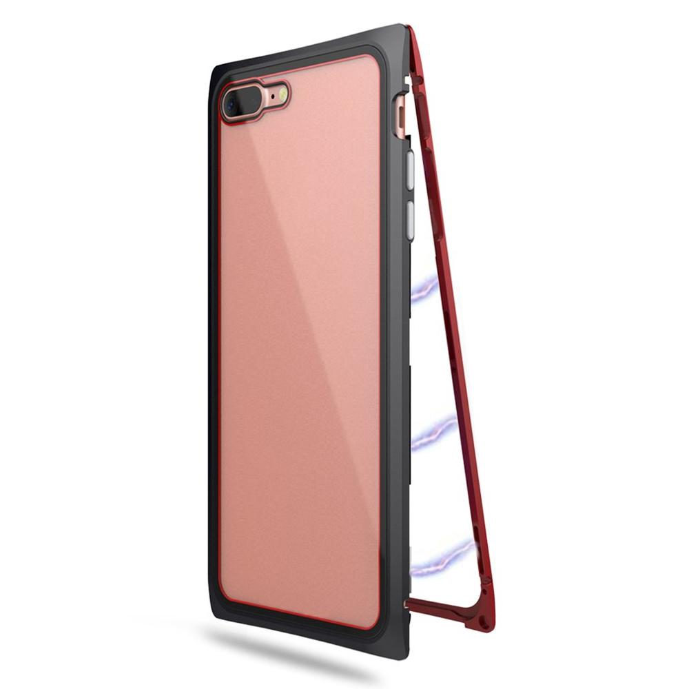 save off 9f319 e9f54 Magneto Phone Case For IPhone X 7 8 6S Plus Magnet Absorption Shell Metal  Bumper Anti-Scratch Tempered Glass Back Cover Coque